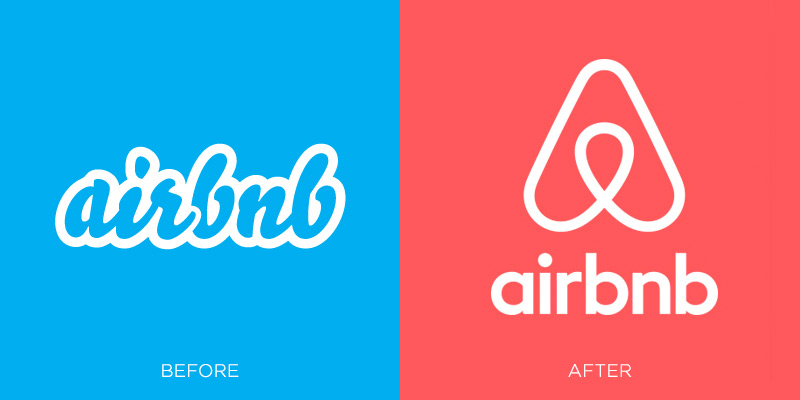 airbnb logo before and after branding